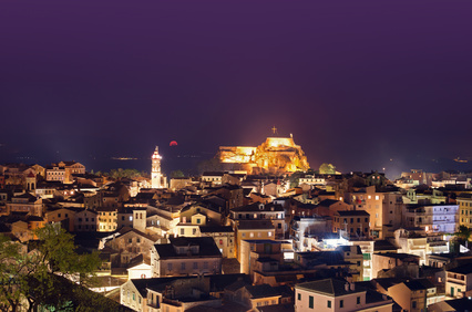 corfu greece night panorama landscape